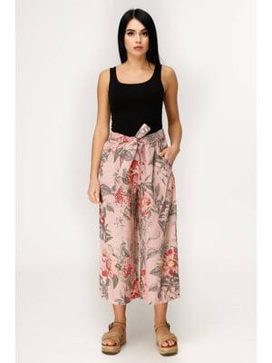 Кюлоты розовые с цветочным принтом | 5699705