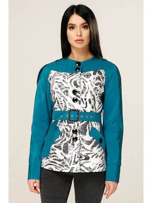 Куртка цвета морской волны с принтом | 5699863