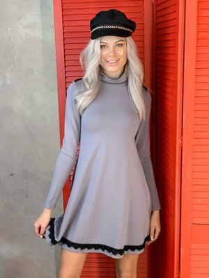 Платье серое с декором | 5701444