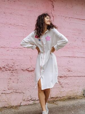 Платье белое с рисунком | 5701453