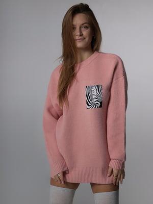 Джемпер розового цвета с анималистическим принтом | 5701497