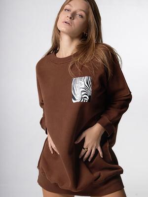Сукня коричневого кольору з анімалістичним принтом | 5701504