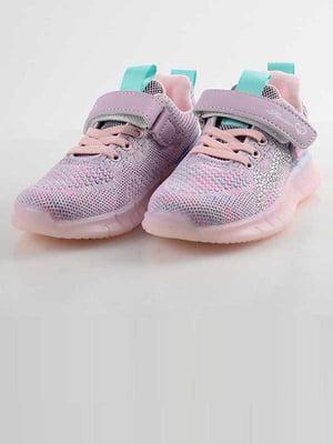 Кроссовки фиолетово-розовые с декором | 5645566