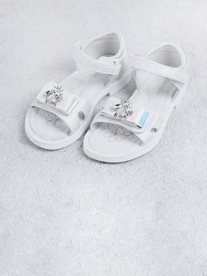 Сандалі білі з декором | 5701581