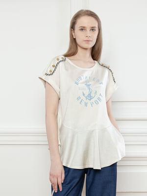 Блуза молочного цвета с принтом | 5702787
