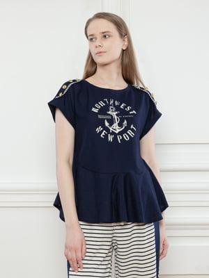 Блуза синяя с принтом | 5702788