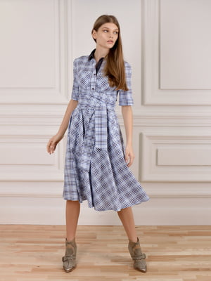 Сукня-сорочка блакитна у клітинку | 5702906