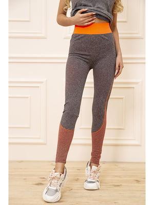 Леггинсы спортивные серо-морковного цвета | 5703829
