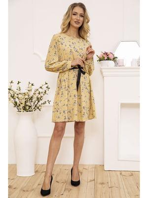 Платье желтое с цветочным принтом | 5703864