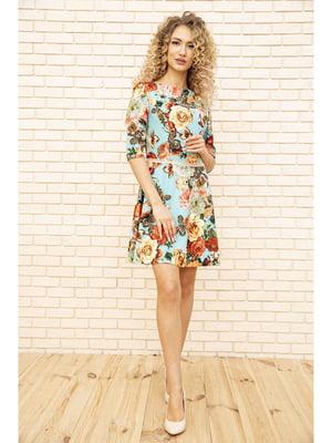 Платье бирюзового цвета с цветочным принтом | 5703919