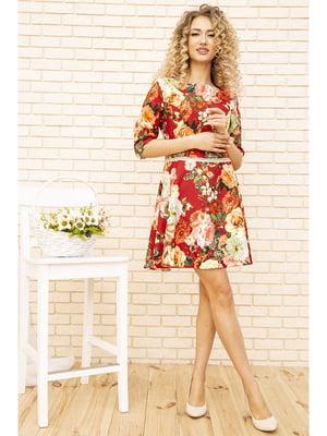 Платье бордовое с цветочным принтом | 5703920