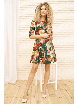 Платье зеленого цвета с цветочным принтом | 5703922