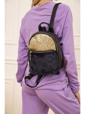 Рюкзак чорно-синій з декором | 5704049