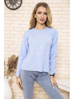 Джемпер блакитного кольору з декором | 5704062