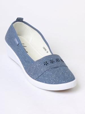 Слипоны синие с рисунком | 5703114