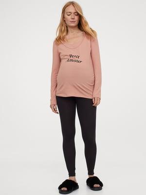 Лонгслів піжамний для вагітних пудрового кольору з принтом | 5704815
