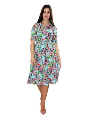 Сукня бірюзового кольору з квітковим принтом | 5705147