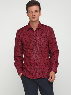 Рубашка бордовая в принт   5705445