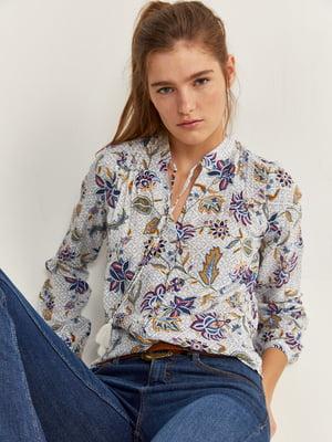 Блуза молочного цвета в принт | 5705550