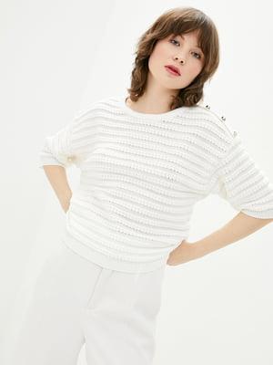 Джемпер яскраво-білий в смужку | 5706598