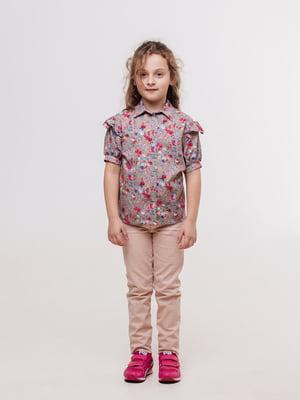 Блуза кавового кольору з квітковим принтом | 5703538