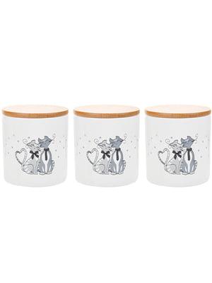Набір банок для сипких з бамбуковою кришкою «Коти» (450 мл)   5706352