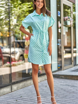 Сукня бірюзового кольору в горошок | 5707067