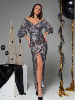 Платье серое в принт | 5707082