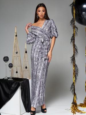 Платье серое в принт | 5707083