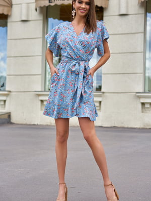 Сукня блакитна у квітковий принт | 5707115