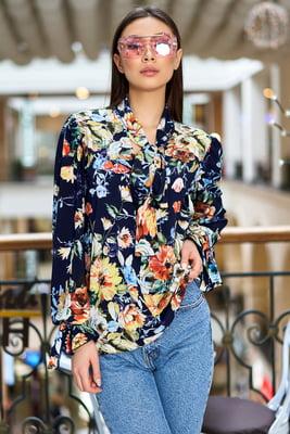 Блуза темно-синяя в цветочный принт | 5707161