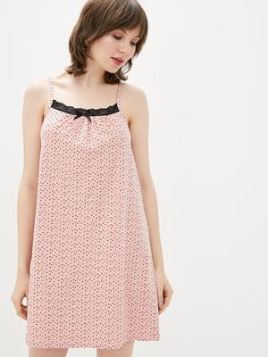 Рубашка ночная цвета пудры в крапинку | 5707345