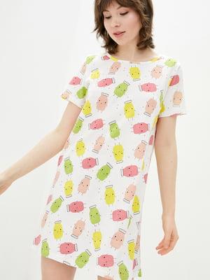 Рубашка ночная белая с принтом | 5707346