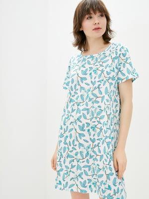 Рубашка ночная белая с растительным принтом | 5707347