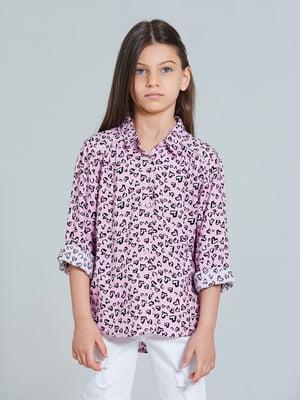 Рубашка розовая в принт | 5686384