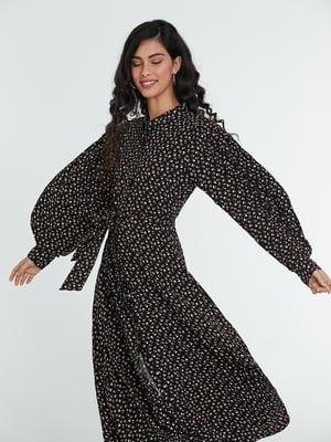Сукня чорна в принт | 5686778