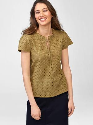 Блуза горчичного цвета с перфорацией | 5707794