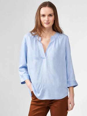 Блуза-рубашка голубого цвета | 5707845