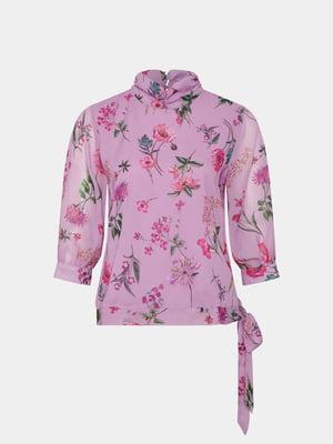 Блуза бузкова в принт | 5707846