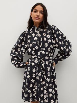 Платье черное с цветочным принтом | 5708075