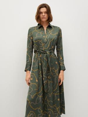 Платье оливкового цвета с принтом | 5708238