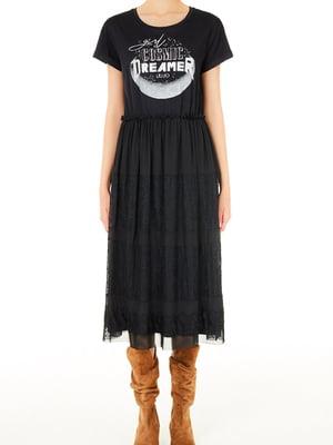 Сукня чорна з принтом | 5663561