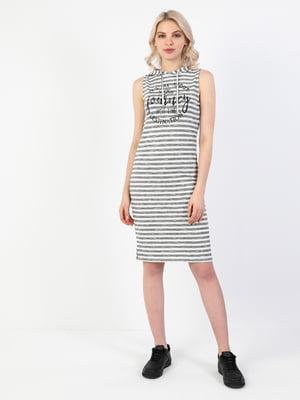 Платье белое в полоску и с принтом   5709255
