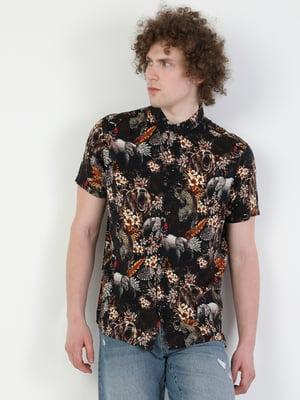 Сорочка коричневого кольору з квітковим принтом | 5709378