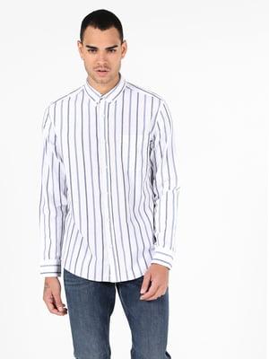 Сорочка біла в смужку | 5709389