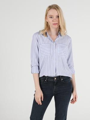 Рубашка синяя в полоску | 5709488