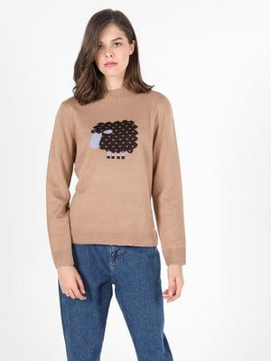 Джемпер коричневого кольору з малюнком | 5709609