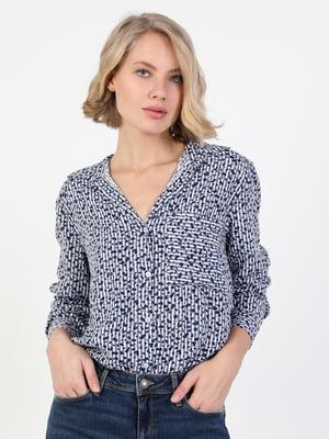 Рубашка синяя в полоску и с принтом   5709636