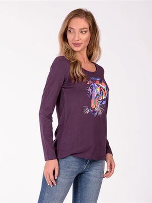 Лонгслив фиолетовый с принтом | 5686789
