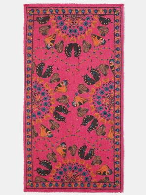 Шарф розового цвета с цветочным принтом | 5710300